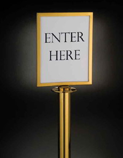 American Metalcraft RSSIGNLSPG Barrier System Sign, 8.5x11-in, Gold