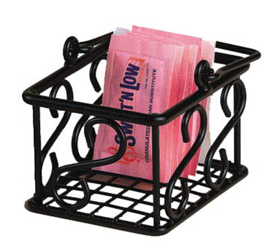 American Metalcraft SBS533 Sugar Packet Basket w/ Scroll Design, Wrought Iron/