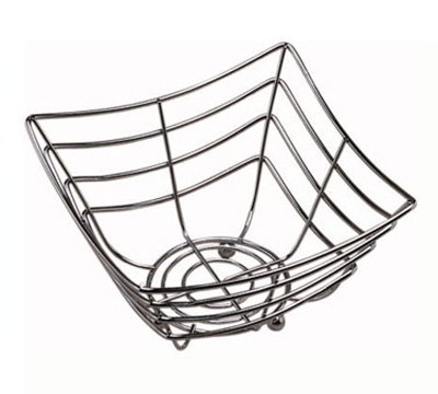 American Metalcraft SCB480 8-in Square Time Continuum Basket w/ Web Pattern & Balled Tip, Chrome