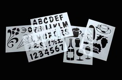 American Metalcraft SECSTN5 6-Piece Stencil Set, 9x13-in, Transparent