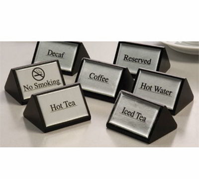 American Metalcraft SIGNW5 Triangular Hot Water Sign w/ Silver Label, Wood/Black