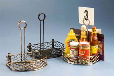 American Metalcraft SRBNB1 Semi Round Condiment Rack w/ Flat Back, Wire/Black