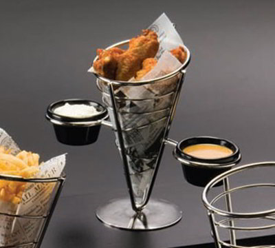 American Metalcraft SS92 5-in Conical Basket w/ 1-Cone Capacity & 2-Ramekin, Black/Stainless