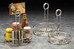 American Metalcraft SSCC8 7.75-in Condiment Rack w/ Center Handle & Slot, Scroll Design, Stainless