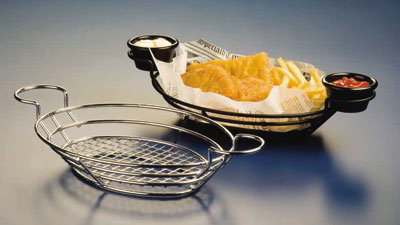 American Metalcraft SSOV1180 Oval Basket w/ Built In Ramekin Holder, Wire/Black
