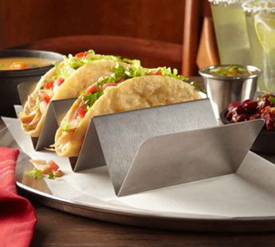 American Metalcraft TSH1 Taco Holder w/ Up To 2-Compartments, Brushed/Stainless