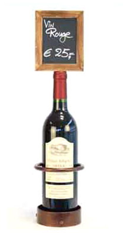 American Metalcraft WBWR1 Wine Bottle Display w/ Chalk Board, 5x19-in, Copper