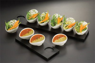 American Metalcraft WCT3 Rectangular Tray w/ 3-Indentations For Egg Shape Sauce Cup, Wood/Black