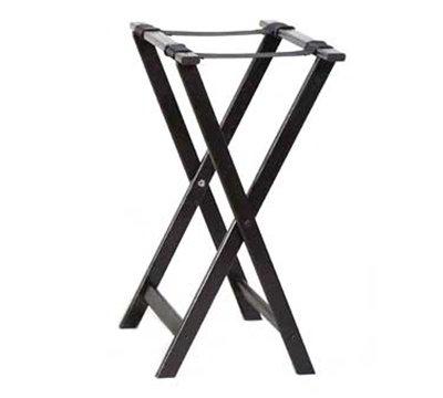 American Metalcraft WTSB33 Folding Tray Stand w/ Nylon Straps, Black Wood
