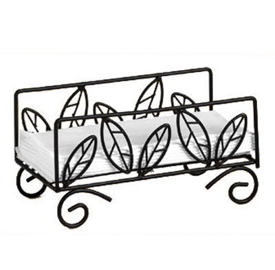 American Metalcraft NDSL59 Napkin Basket w/ Leaf Design, Wrought Iron/Black