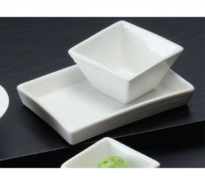 American Metalcraft SCR20 Ribbed Square Sauce Dish w/ 2-oz Capacity, Porcelain