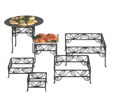 American Metalcraft SLRS7 Square Disaply Riser Set w/ Leaf Design, Wrought Iron/Black
