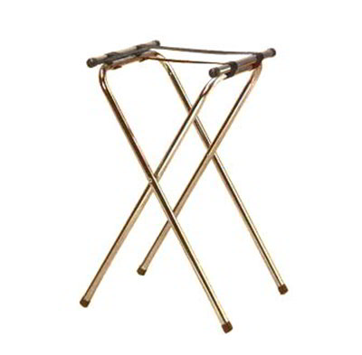 American Metalcraft TRSD1815 31-in Folding Deluxe Tray Stand w/ Nylon Strap, Chrome/Black