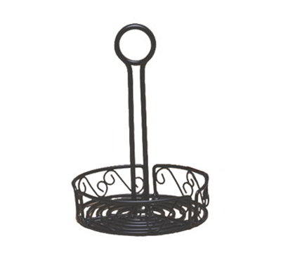 American Metalcraft WBCC6 6.5-in Condiment Rack w/ Center Handle & Slot, Scroll Design, Wrought Iron/Black
