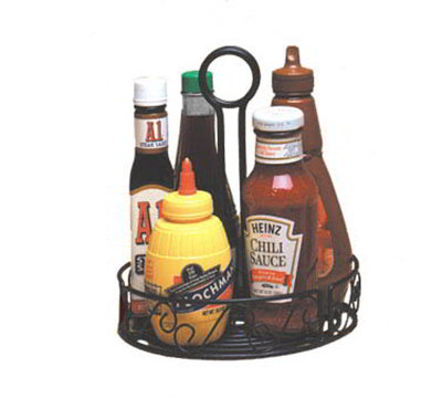 American Metalcraft WBCC8 7.75-in Condiment Rack w/ Center Handle & Slot, Scroll Design, Wrought Iron/Black