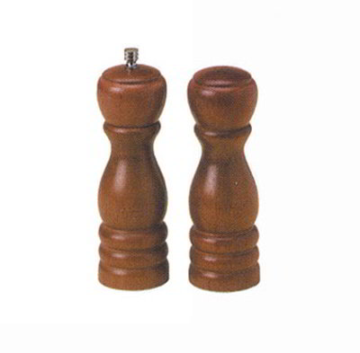 American Metalcraft WPMS62 6-in Salt & Pepper Mill Set w/ Tempered Grinding Mechanism, Wood, Steel