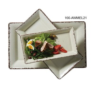 "American Metalcraft AWMEL21 Rectangular Platter, 21"" x 13"" x 2"", Melamine, Antique White"