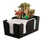 American Metalcraft BAR6 6-Compartment Bar Organizer, Black/Plastic