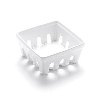 "American Metalcraft BBSKT1 3-7/8"" Square Berry Basket - White Ceramic"