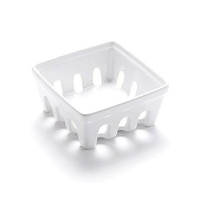 "American Metalcraft BBSKT2 4-3/4"" Square Berry Basket - White Ceramic"