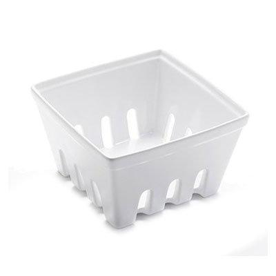 "American Metalcraft BBSKT3 5-7/8"" Square Berry Basket - White Ceramic"