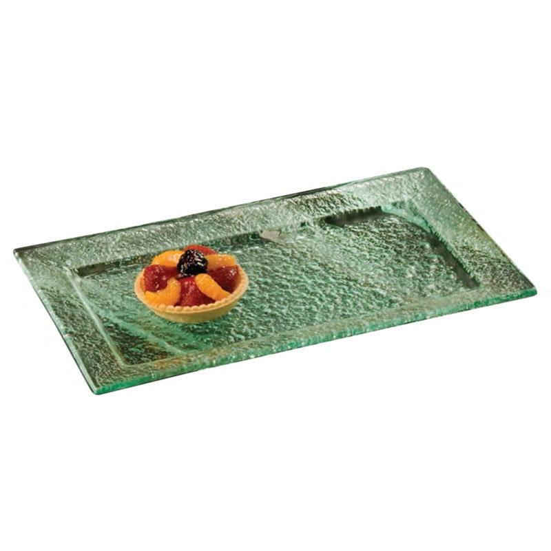 American Metalcraft BG159 Rimmed Rectangular Platter, 15x9-in, Glass/Green