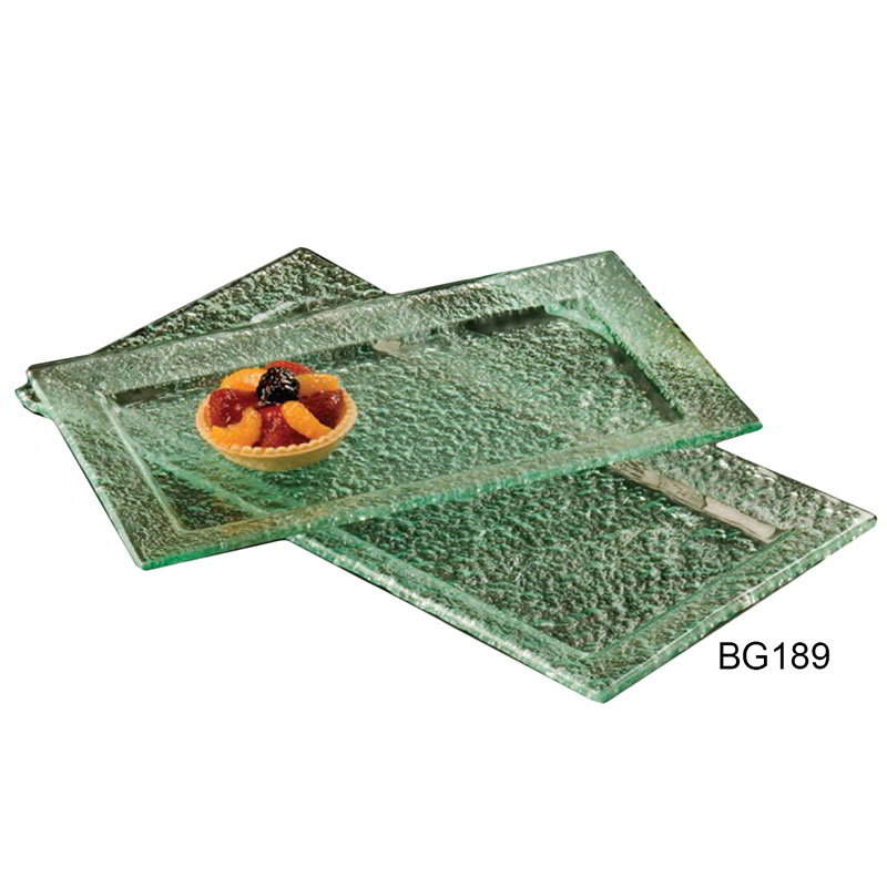 "American Metalcraft BG189 Rimmed Rectangular Platter, 18x9"", Glass/Green"