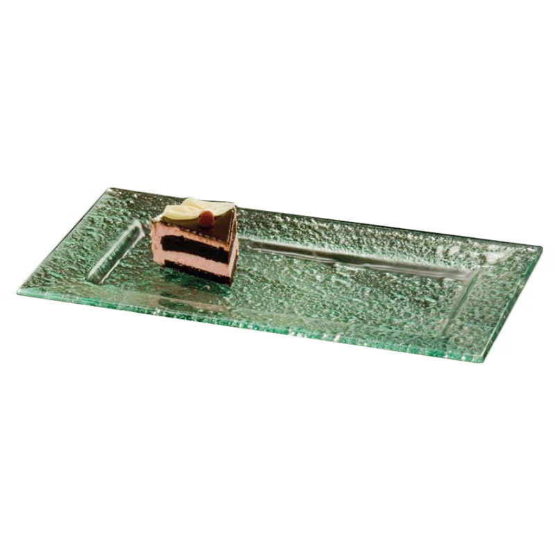 "American Metalcraft BG1911 Rimmed Rectangular Platter, 19x11"", Glass/Green"