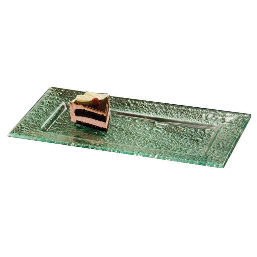 American Metalcraft BG2113 Rimmed Rectangular Platter, 21x13-in, Glass/Green