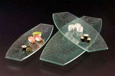 American Metalcraft BG2810 Glacier Glass Platter, 28 in x 10 in, Boat Shape, Bubble Glass, Green