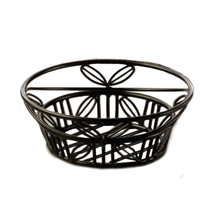 American Metalcraft BLLB81 Bread Basket 8 in Dia. Black Leaf Design Wrought Iron Restaurant Supply