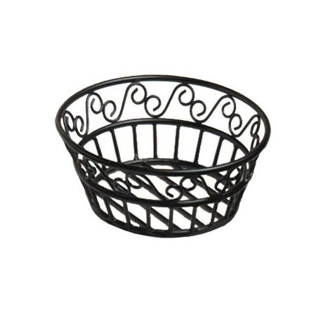 "American Metalcraft BLSB80 8"" Bread Basket w/ Scroll Design, Wrought Iron/Black"