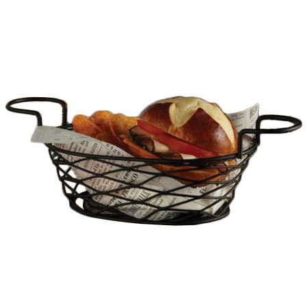 "American Metalcraft BNBB692 9"" Oblong Wire Basket, Black"