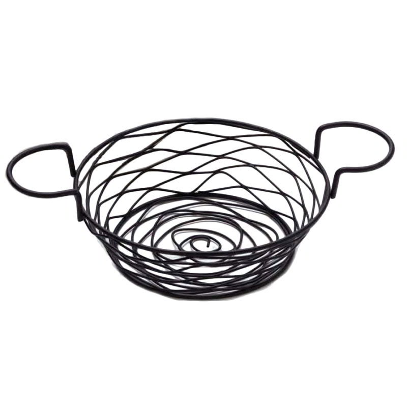 "American Metalcraft BNBB83 Round Wire Basket w/ Ramekin Holder, 8x3.62"", Black"
