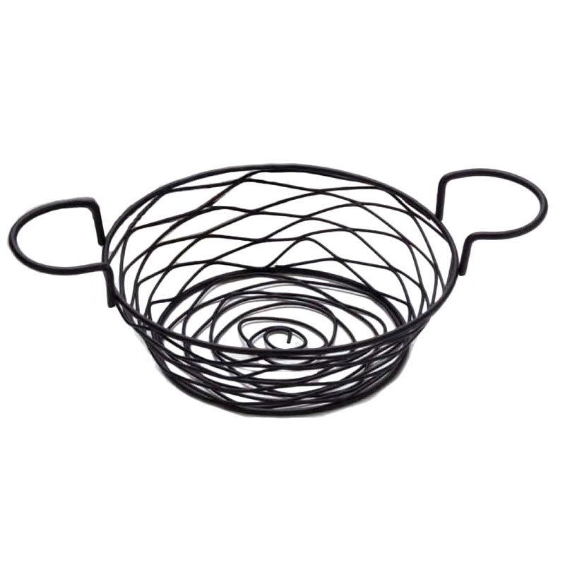 American Metalcraft BNBB83 Round Wire Basket w/ Ramekin Holder, 8x3.62-in, Black