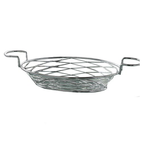 "American Metalcraft BNBC281 11"" Oval Wire Basket w/ Ramekin Holder, Chrome"