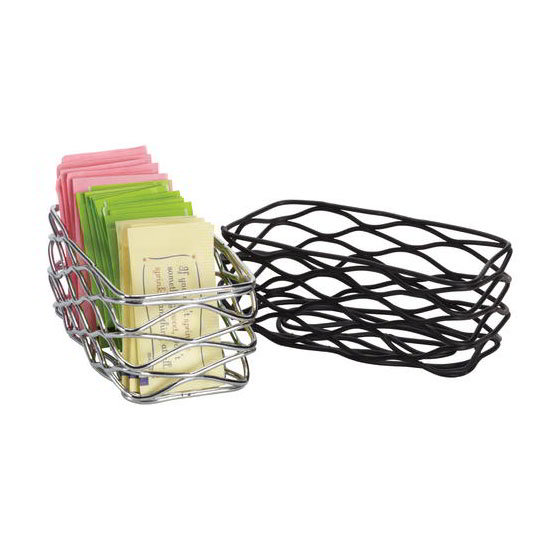 American Metalcraft BNSB3 Rectangular Wire Condiment Basket, Black