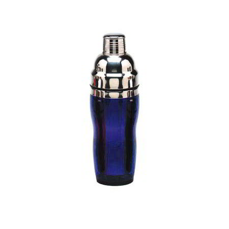 American Metalcraft BSJ16 3-Piece Cocktail Shaker w/ 16-oz Capacity, Blue/Stainless