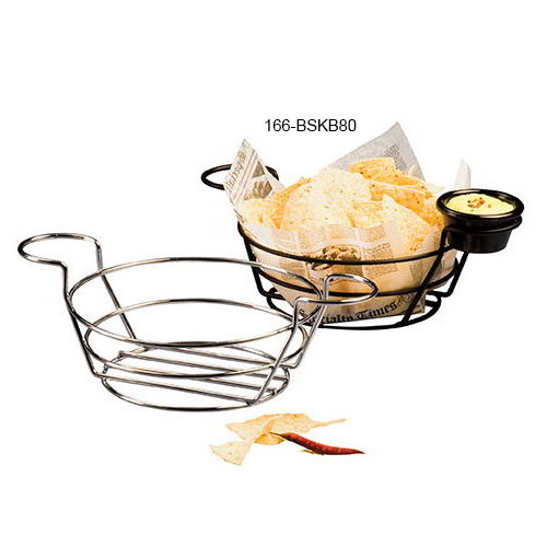 "American Metalcraft BSKB80 8"" Round Wire Basket w/ Ramekin Holder, Black"