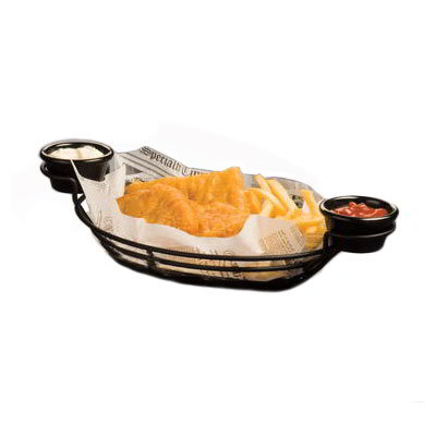"American Metalcraft BSKB811 Oval Wire Basket w/ Ramekin Holder, 11x8"", Black"