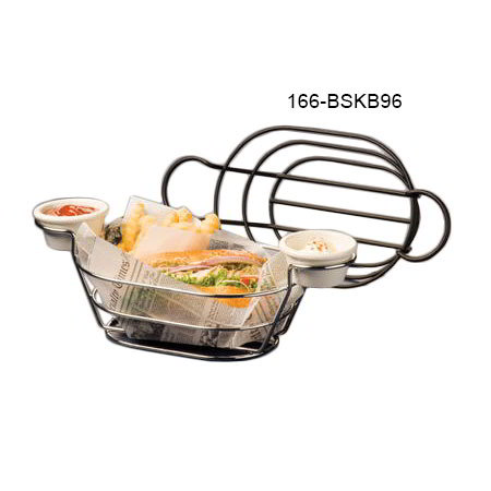 "American Metalcraft BSKB96 Oval Wire Basket w/ Ramekin Holder, 6x9"", Black"