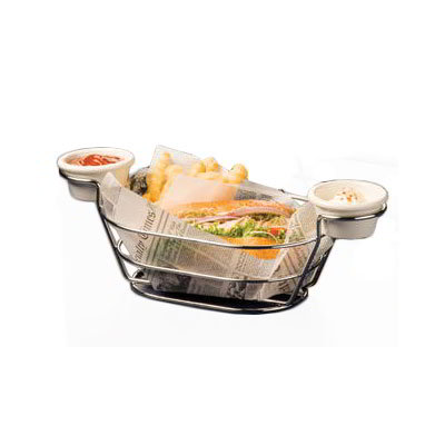 "American Metalcraft BSKC69 Oval Wire Basket w/ Ramekin Holder, 6x9"", Chrome"