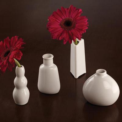 "American Metalcraft BVS3 3.5"" Mini Bud Vase, White Ceramic"