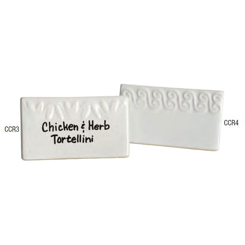 "American Metalcraft CCR4 Write-On Tabletop Menu Card w/ Scroll Pattern - 2.18"" x 3.75"", Ceramic"