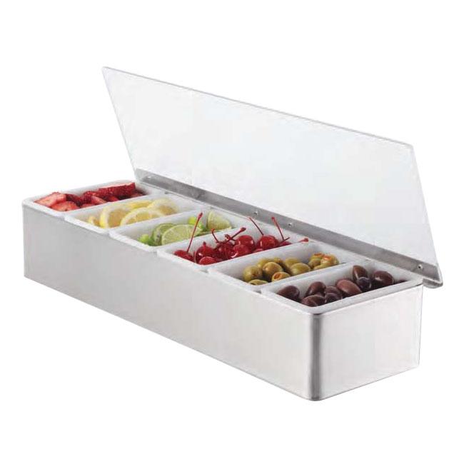 American Metalcraft CD6 Bar Condiment Dispenser w/ 6-Box Capacity, Stainless/Plastic