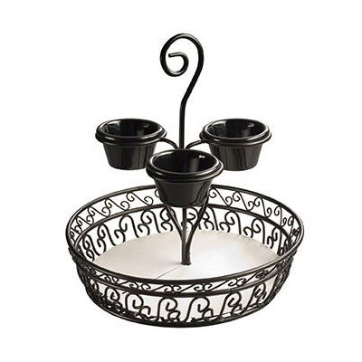American Metalcraft CDB1213 12-in Chip & Dip Basket w/ 4-oz Ramekin Capacity, Black/Wrought Iron