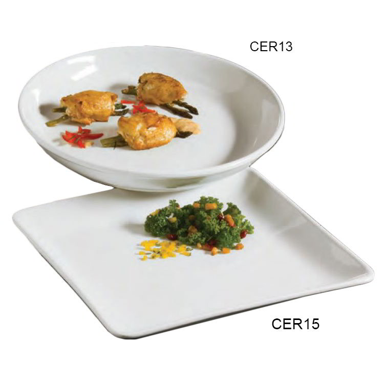 American Metalcraft CER15 14-in Square Plater, Ceramic/White