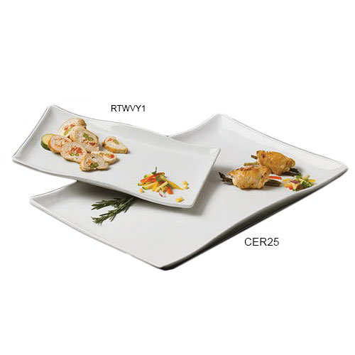 American Metalcraft CER25 Wavy Rectangular Platter, 12x13.5-in, Ceramic/White