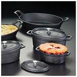 American Metalcraft CIPOV745 Oval Baking Dish w/ 27-oz Capacity & Handle/Lid, Cast Iron