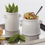 American Metalcraft CMP3 4-oz Mini Milk Can with Handles - White Ceramic